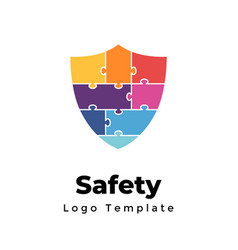 creative puzzle protection logo abstract vector image
