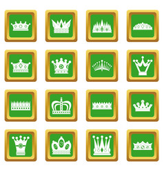 Crown icons set green vector