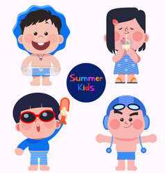 cute and lovely summer kids in swimming suits vector image