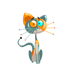 Cute friendly robotic cat sitting on the floor vector