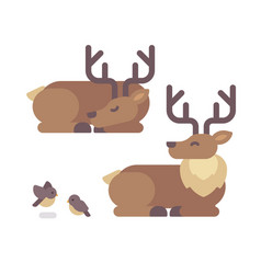Deer lying down flat santa claus reindeer vector