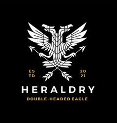 double headed eagle heraldry heraldic white on vector image