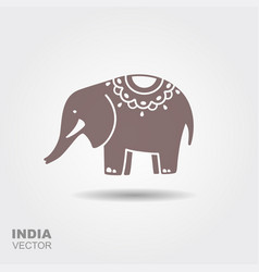 elephant stylized flat icon with shadow vector image