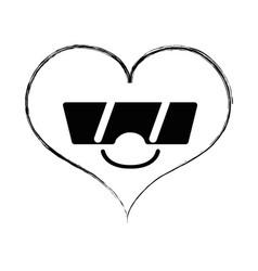 Figure smile heart passion kawaii with sunglasses vector