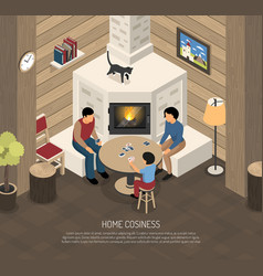 fire place family isometric vector image