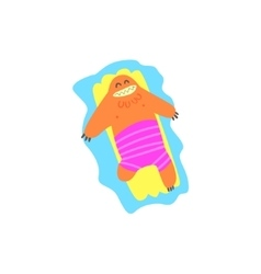 Floating On Matrass Monster The Beach vector image