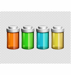 Four small bottles in different colors vector