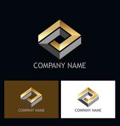 gold 3d rhombus shape company logo vector image