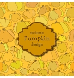 Golden autumn background with seamless pumpkin vector image