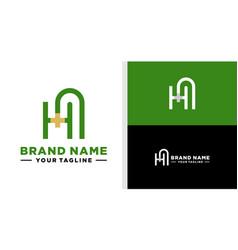 Ha logo monogram line editable vector