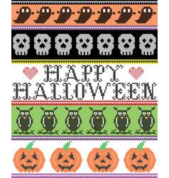 happy halloween patter with skulls ghosts pumpkins vector image
