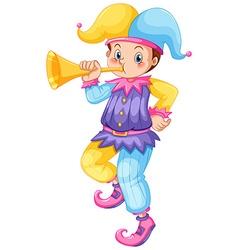 Jester blowing golden trumpet vector