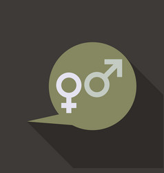Male and female symbols combination in thinking vector
