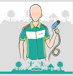 man holding the water hose vector image