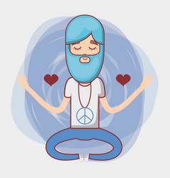 man meditation with hearts and beard vector image