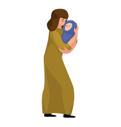 Mother baby migrant icon cartoon style vector
