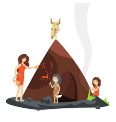 Mother with children in stone age primitive vector