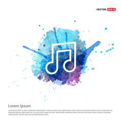 Music symbol icon - watercolor background vector