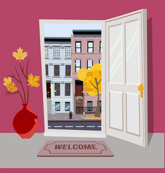 open door into autumn city day sunny view vector image