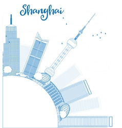 Outline Shanghai skyline with blue skyscrapers vector