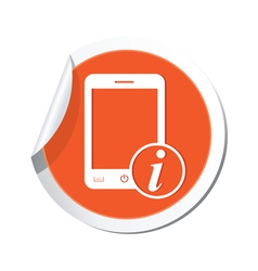 phone information icon orange sticker vector image