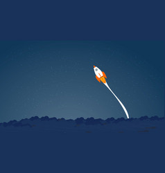 picture of rocket flying above clouds business vector image