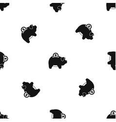 pig money box pattern seamless black vector image