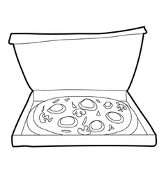 Pizza icon outline style vector