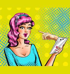 pop art beautiful woman with smartphone vector image