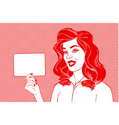 pop art woman and empty speech bubble vector image