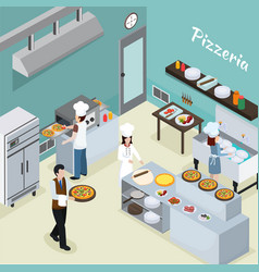 Professional kitchen interior isometric background vector