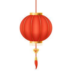 realistic 3d detailed chinese round red lantern vector image