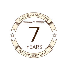 Realistic seven years anniversary celebration logo vector