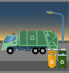 recycle garbage truck taking garbage at dawn vector image