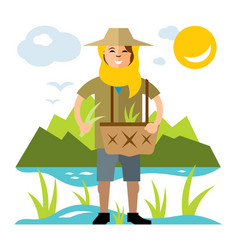 Rice field woman flat style colorful vector