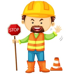 Road worker holding stop sign vector