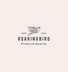 Roaring bird logo retro hipster vintage icon vector