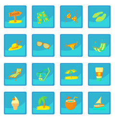 Sea rest icon blue app vector