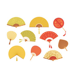 set asian paper and textile fans vector image
