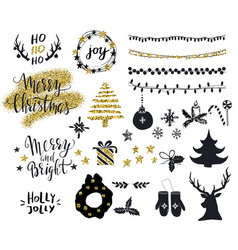 set decorative christmas elements with trees vector image