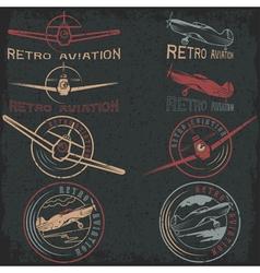 set grunge vintage labels retro aviaton vector image