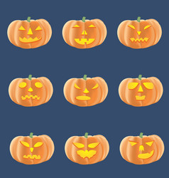 Set of halloween pumpkins with several emotions vector