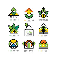 Set of original logos with eco friendly vector