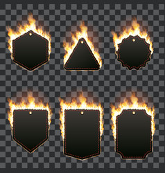 Set of six horizontal frames surrounded with flame vector