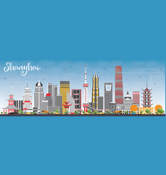 Shanghai skyline with color buildings and blue sky vector