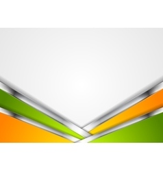 Silver metallic lines orange green background vector image