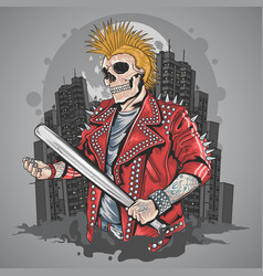 Skull punk gangster with mohawk hair artwork vector