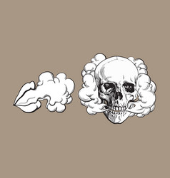 Smoke coming out of skull and lips vector