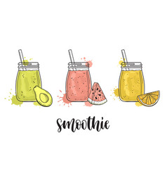 smoothies with fruit vector image