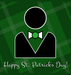 St patricks day card - figure suit and bow tie vector